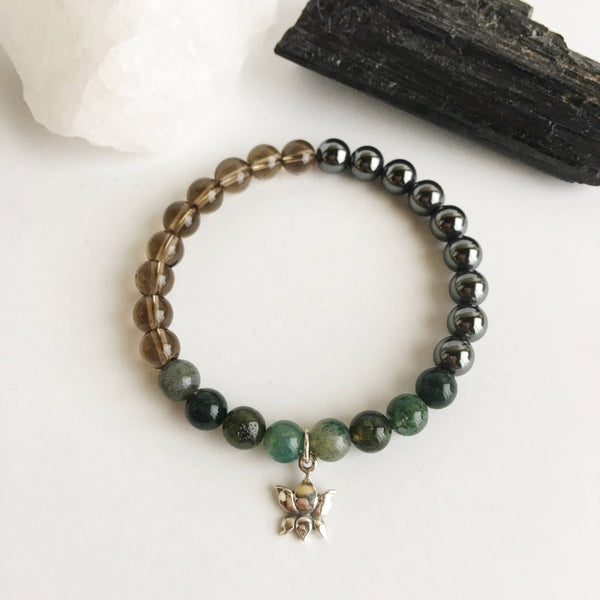 Harmony & New Beginnings - Hematite, Moss Agate and Smokey Quartz Bracelet - A Peace of Mind Jewelry & Boutique