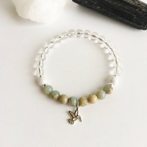 Joy & Tranquility - Crystal Quartz and Aqua Terra Jasper Bracelet - A Peace of Mind Jewelry & Boutique