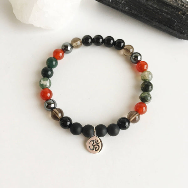 I am Free from Depression - Black Onyx, Smokey Quartz, Carnelian, and Moss Agate Bracelet - A Peace of Mind Jewelry & Boutique