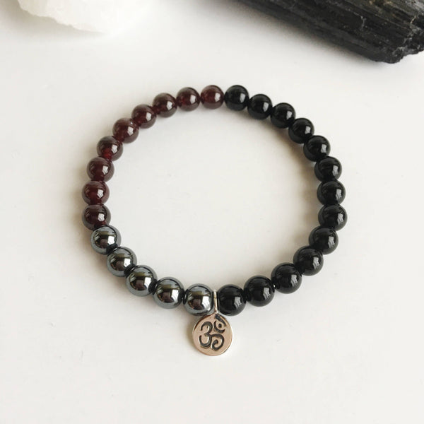 Grounding & Protection - Black Onyx, Garnet & Hematite Bracelet - A Peace of Mind Jewelry & Boutique