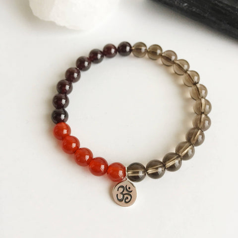 Energy & Success - Carnelian, Garnet and Smokey Quartz Bracelet - A Peace of Mind Jewelry & Boutique