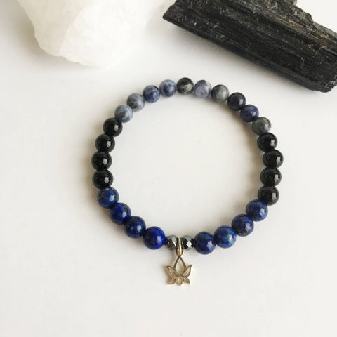 Self-Confidence & Protection - Black Onyx, Hematite, Lapis Lazuli and Sodalite Bracelet - A Peace of Mind Jewelry & Boutique