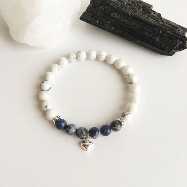 Communicate Freely - Sodalite & White Howlite Bracelet w/ a Heart Charm - A Peace of Mind Jewelry & Boutique