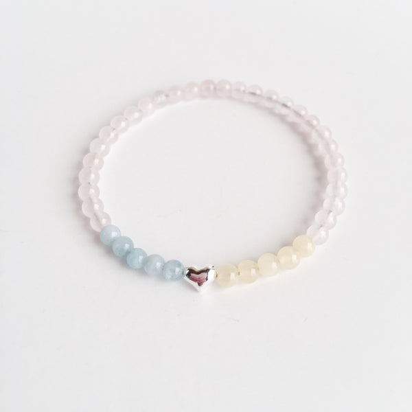I am Love. I am Energy. ~ Aquamarine, Rose Quartz and Yellow Calcite Bracelet