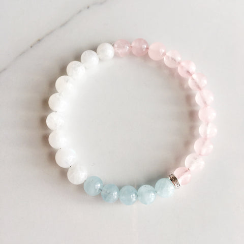 My Inner Peace is Invincible, Aquamarine, Moonstone and Rose Quartz Bracelet