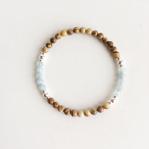 I Am Content With Moving On - Aquamarine &  Picture Jasper Sterling Silver Bracelet