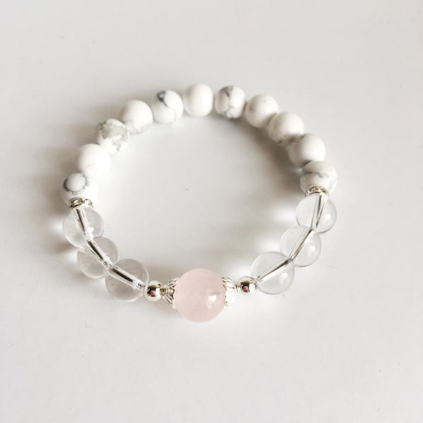 Love & Peace - Crystal Quartz, Rose Quartz and White Howlite Sterling Silver Bracelet