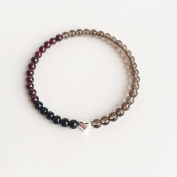 Confidence, Prosperity & Grounding ~ Black Onyx, Garnet and Smokey Quartz Bracelet