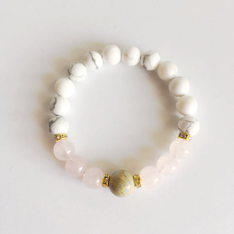 A Warm & Peaceful Energy Surrounds Me - Aqua Terra Jasper, Rose Quartz and White Howlite Gold Plated Bracelet