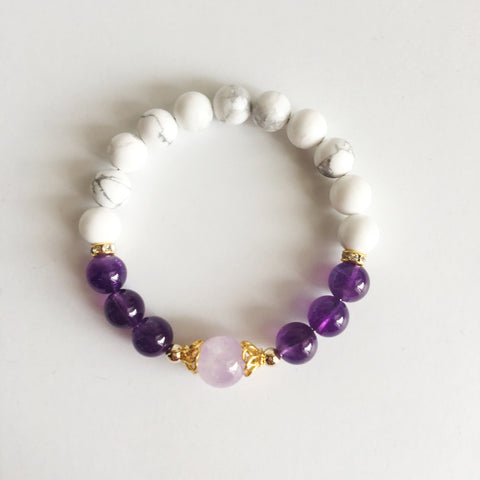 Healing From Outside Negative Influences - Amethyst, Cape Amethyst and White Howlite Gold Filled Bracelet