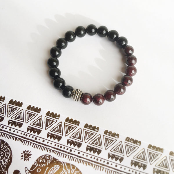 Strength & Confidence, Black Onyx and Garnet Sterling Silver Bracelet, Men's Bracelet, Intention Jewelry, Men's Jewelry, Father's Day Gift