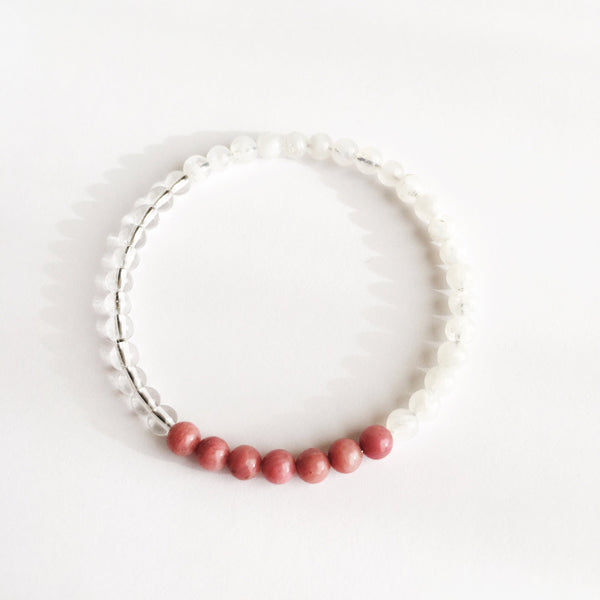 Love & Self-Worth Bracelet - Crystal Quartz, Moonstone and Rhodonite Bracelet