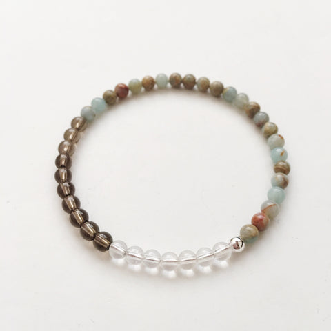 Protection Against Depression - Aqua Terra Jasper, Crystal Quartz & Smoky Quartz Bracelet