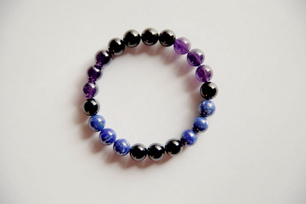 Genuine Amethyst Black Tourmaline & Lapis Lazuli Bracelet ~ Sterling Silver ~ Immune Deficiency - A Peace of Mind Jewelry & Boutique