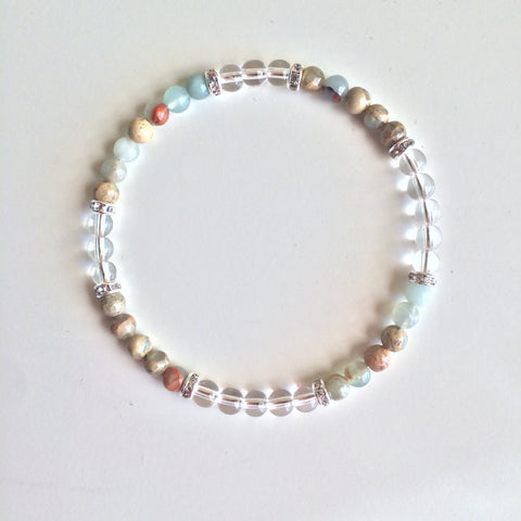 Inner Peace & Meditation ~ Genuine Colorful Aqua Terra Jasper & Crystal Quartz Bracelet w/ Sterling Silver Accents