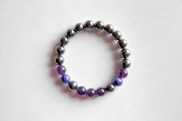 Genuine Amethyst, Hematite & Lapis Lazuli Bracelet ~ Sterling Silver ~ Insomnia - A Peace of Mind Jewelry & Boutique