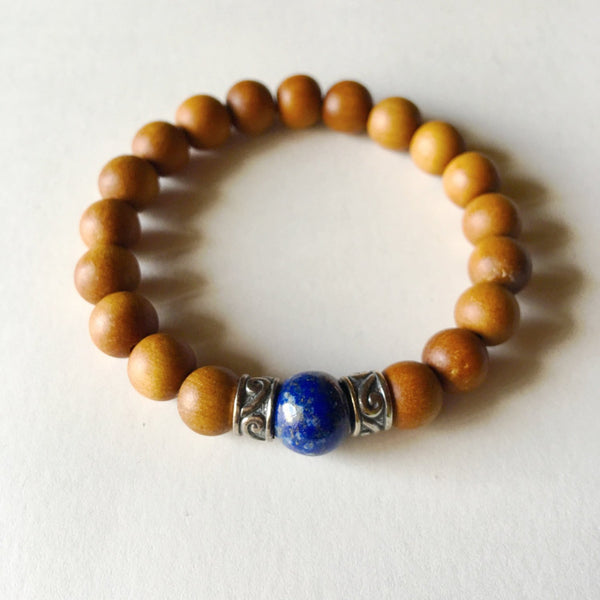 Anxiety Free Bracelet ~ Lapis Lazuli & Sandalwood Bracelet - A Peace of Mind Jewelry & Boutique