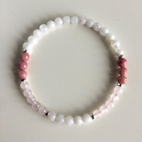 Love Bracelet ~ Moonstone, Rhodonite & Rose Quartz Bracelet w/ Sterling Silver Accents - A Peace of Mind Jewelry & Boutique