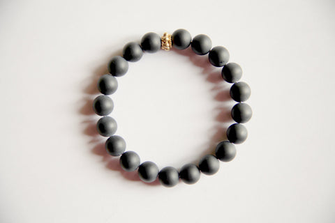 Self Confidence - Men's Genuine Frosted Black Onyx Bracelet with a Gold Filled Accent - A Peace of Mind Jewelry & Boutique