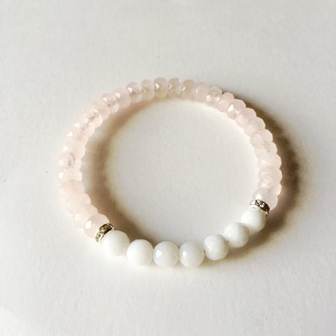 Genuine Round White Agate & Faceted Rose Quartz Bracelet w/ Swarovski Crystal Spacers - A Peace of Mind Jewelry & Boutique