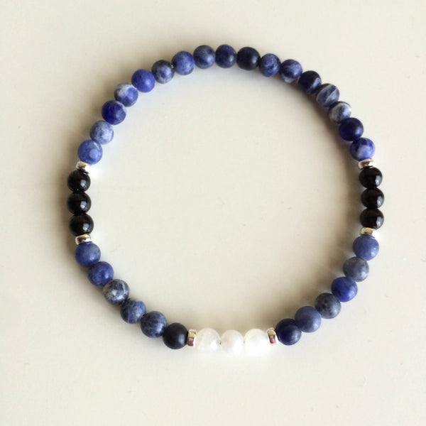 Strength & Grounding ~ Genuine Moonstone, Sodalite & Black Tourmaline Bracelet w/ Sterling Silver Accents - A Peace of Mind Jewelry & Boutique