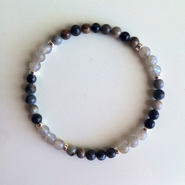 Opening Up to Happiness ~ Genuine Labradorite & Ocean Jasper Bracelet w/ Sterling Silver Accents - A Peace of Mind Jewelry & Boutique