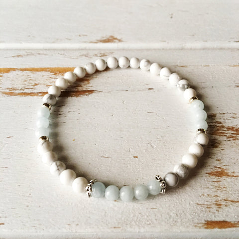 Peace and Serenity Bracelet - Aquamarine and White Howlite Bracelet - A Peace of Mind Jewelry & Boutique