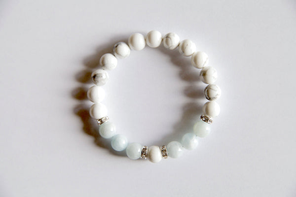 Peace & Tranquility Bracelet ~ Aquamarine & White Howlite Bracelet w/ Sterling Silver Accents - A Peace of Mind Jewelry & Boutique