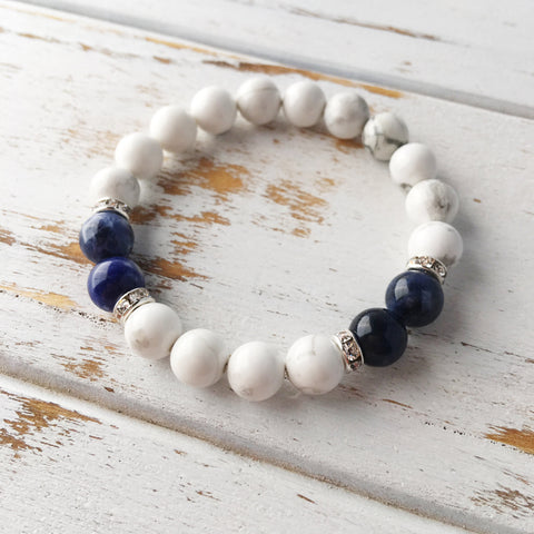 Peaceful Communication ~ Genuine White Howlite & Sodalite Bracelet - A Peace of Mind Jewelry & Boutique