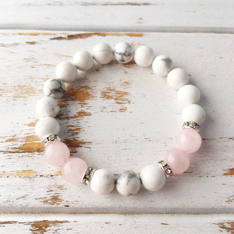 Help to Release Anger ~ Genuine White Howlite & Rose Quartz Bracelet w/ Swarovski Crystal Spacers