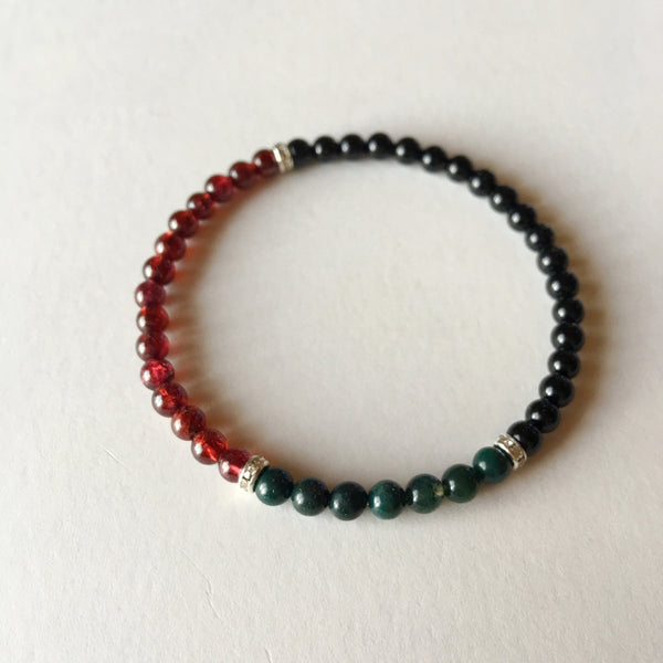Power, Energy & Protection Bracelet ~ Garnet, Bloodstone and Black Onyx
