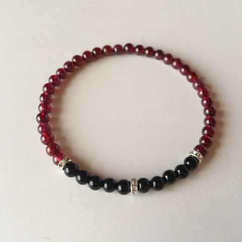 Power & Grounding Bracelet ~ Garnet & Black Onyx