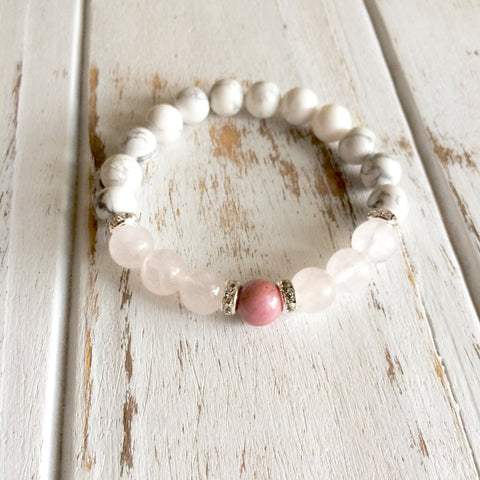 Help to Release Anger ~ Genuine Rose Quartz, White Howlite & Rhodonite Bracelet w/ Swarovski Crystal Spacers - A Peace of Mind Jewelry & Boutique