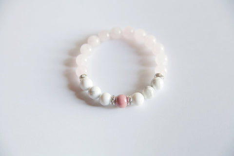 Help to Release Anger ~ Genuine Rhodonite, White Howlite & Rose Quartz Bracelet w/ Swarovski Crystal Accents