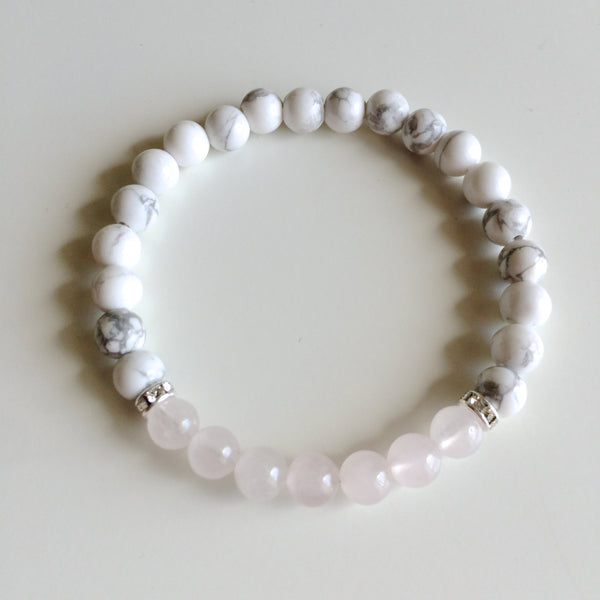 Genuine Rose Quartz & White Howlite Bracelet w/ Swarovski Crystal Spacers ~ 6mm Beads ~ Calm - A Peace of Mind Jewelry & Boutique