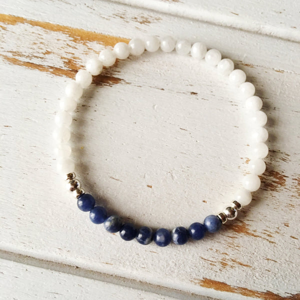 Self-Worth & Confidence - Sodalite and White Moonstone Bracelet - A Peace of Mind Jewelry & Boutique