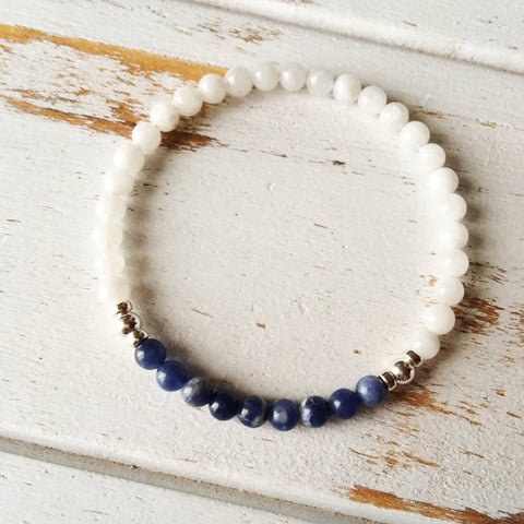Self-Worth & Confidence - Sodalite and White Moonstone Bracelet