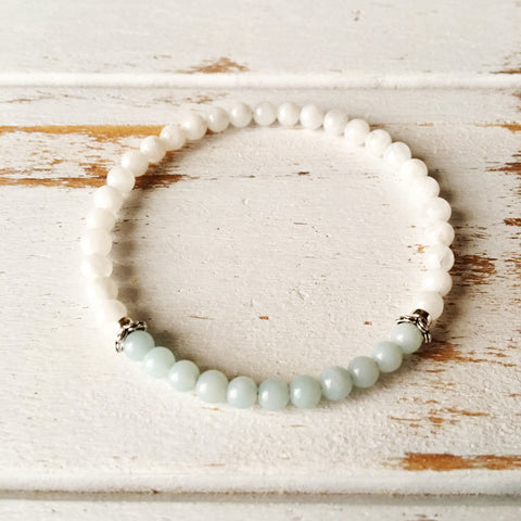 Self-Worth & Good Luck - Amazonite and White Moonstone Bracelet - A Peace of Mind Jewelry & Boutique