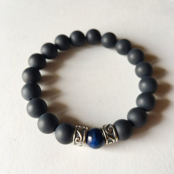 Soothe & Protection Bracelet ~ Matte Onyx and Lapis Lazuli - A Peace of Mind Jewelry & Boutique