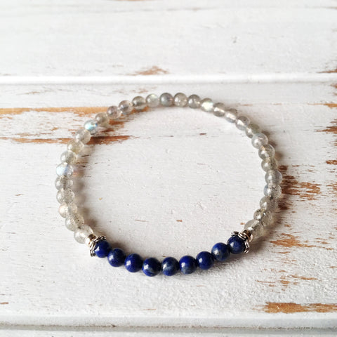 Stress & Anxiety Free Bracelet - Labradorite & Lapis Lazuli Bracelet - A Peace of Mind Jewelry & Boutique