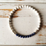 Stress Free & Release Bracelet ~ Lapis Lazuli & White Howlite Bracelet ~ 4mm Stones - A Peace of Mind Jewelry & Boutique