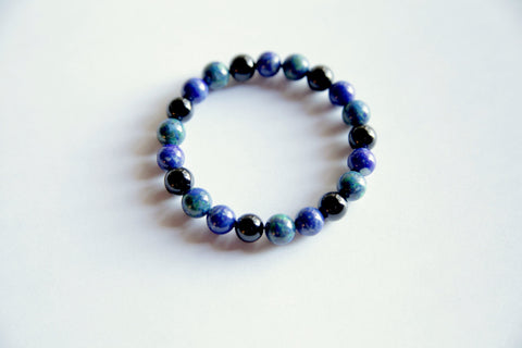 Stress Relief Bracelet ~ Azurite Malachite, Lapis Lazuli & Black Onyx - A Peace of Mind Jewelry & Boutique