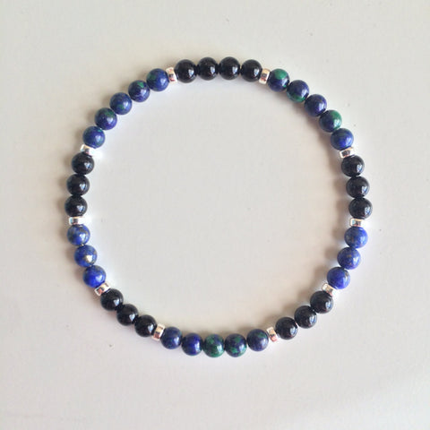 Stress Relief & Worry Free Bracelet ~ Azurite Malachite, Lapis Lazuli & Black Onyx Bracelet - A Peace of Mind Jewelry & Boutique