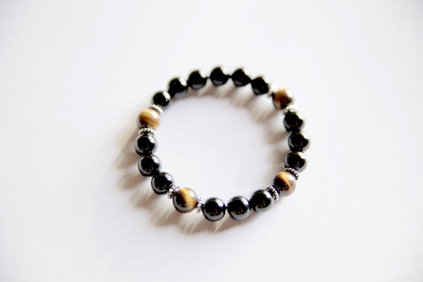 Genuine Black Onyx & Tiger's Eye Bracelet w/ Sterling Silver Accents~ Focus, Protection and Luck - A Peace of Mind Jewelry & Boutique