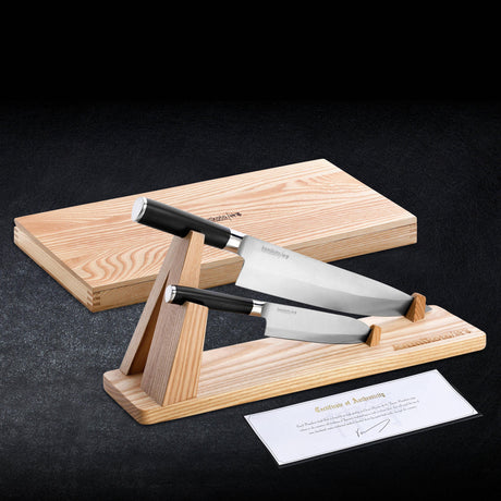Senshi Dual Knife Set with Wooden Display Stand