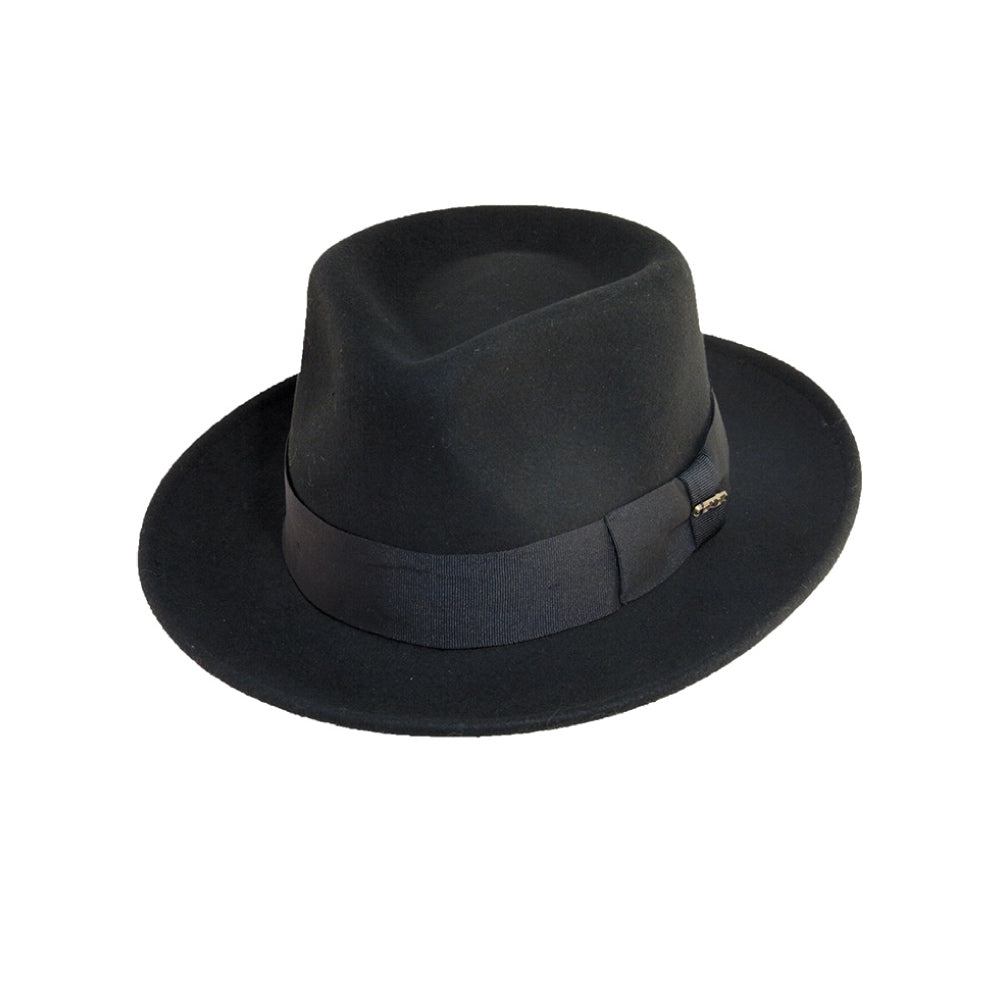 SCALA BLACK FEDORA FUR FELT DRESS HAT