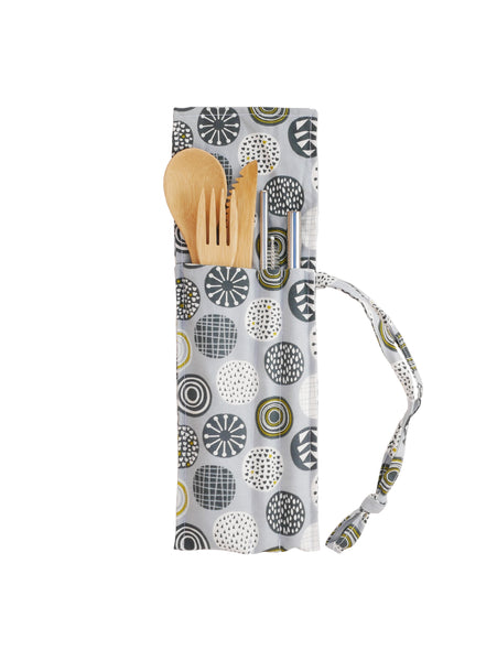 Straw & Cutlery Kit With Hand Made Bag