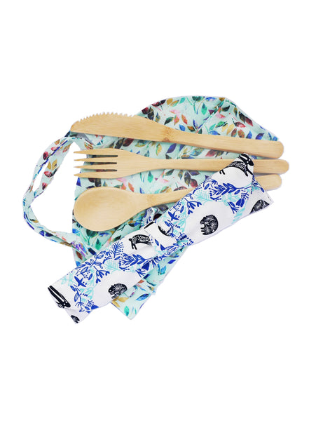 Bamboo Cutlery Set With Hand Made Bag