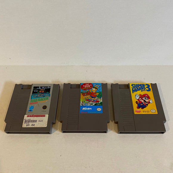 Lot of 3 NES Games - Rad Racer, Bart vs. The Space Mutants, Super Mario 3