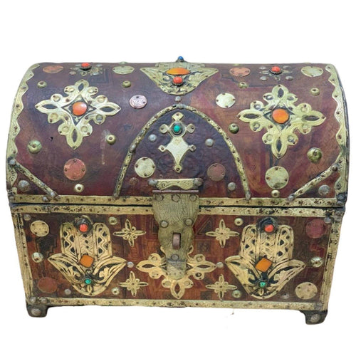 Antique Moroccan Hamsa Cedar Chest - Tuareg Leather, Bone, Silver, Gems Home Decor